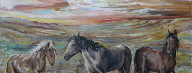 """""""The Cloud Runners"""" 28""""x38"""" oil or acrylic on canvas"""