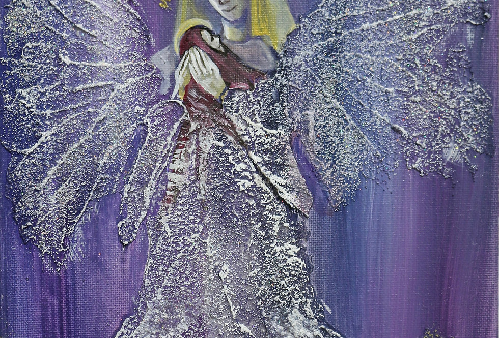 """""""Angel Holding Jesus"""" #3 8x8 glass bead, glitter, and acrylics on canvas"""