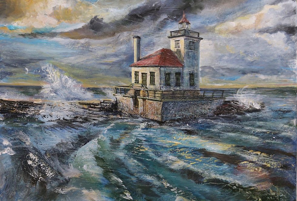 """""""West Pierpont Lighthouse, Oswego NY"""" 24x30x1-1/2  gallery wrapped"""