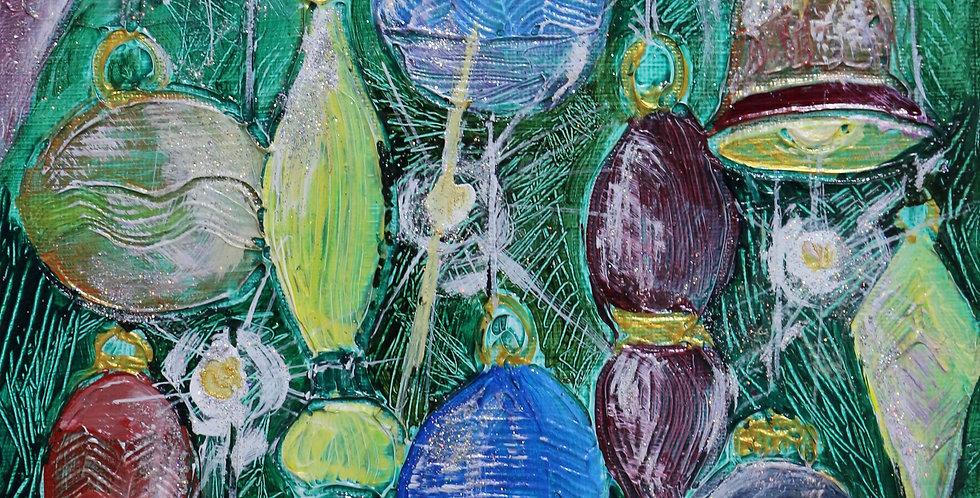 """""""A Busy Season"""" 8x8 acrylics, acrylic gel and glitter on canvas"""