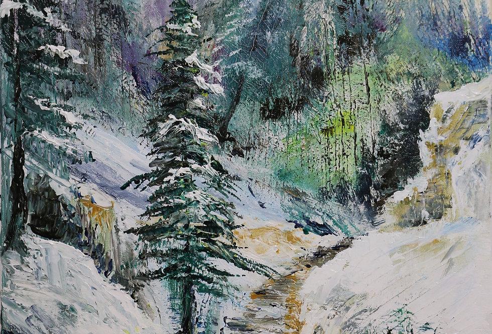 """""""Mountain Stream""""  16x20 acrylic on canvas"""