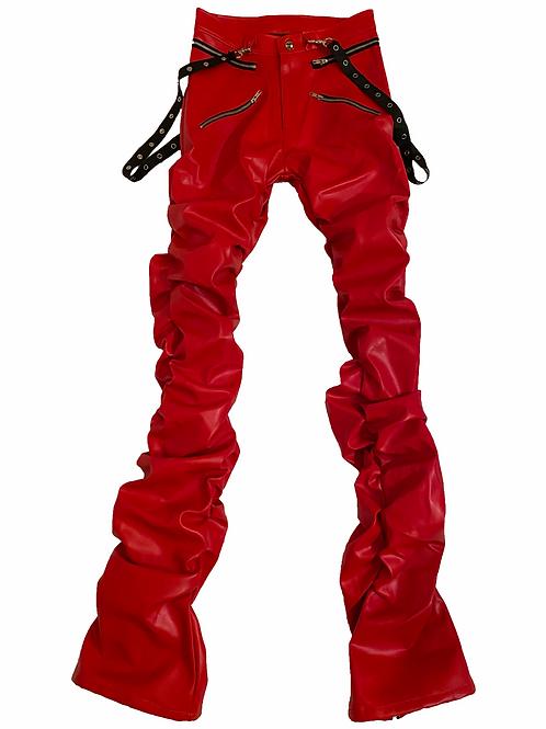 Scarlet Red Leather Bondage Pants