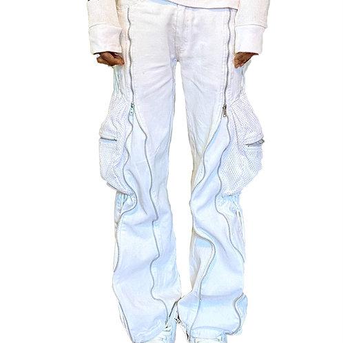 White Mesh Cargo Pants