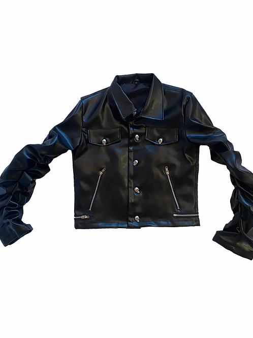 Jet Black Leather Bondage Jacket