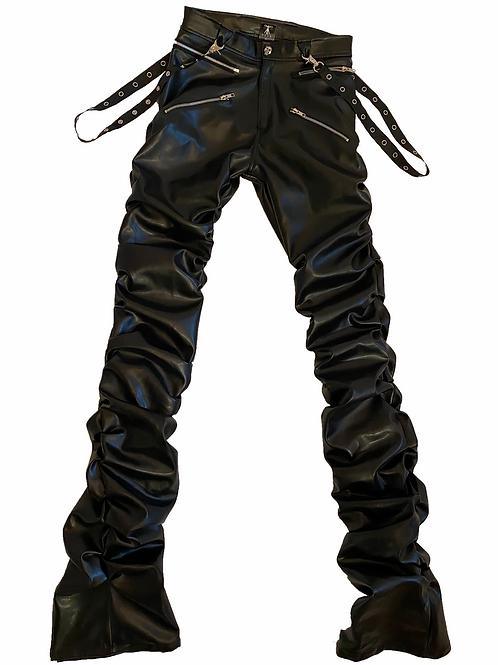 Jet Black Leather Bondage Pants