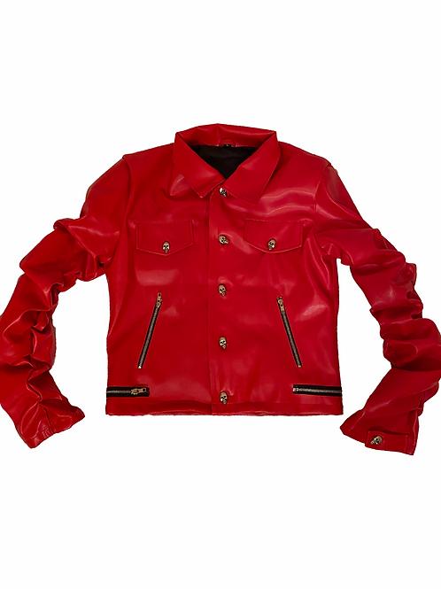 Scarlet Red Leather Bondage Jacket