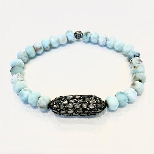 Diamonds, Oxidized Silver and Larimar Bracelet