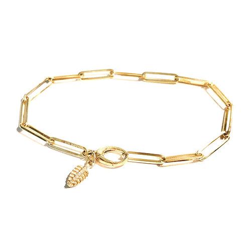 14k and Diamond Feather Bracelet