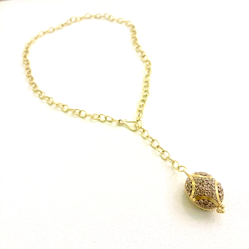 """22k and 18k Diamond """"Y"""" necklace"""