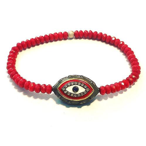 Red Coral Evil Eye bracelet