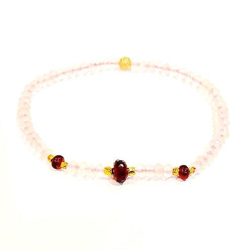 Garnet rose quartz bracelet
