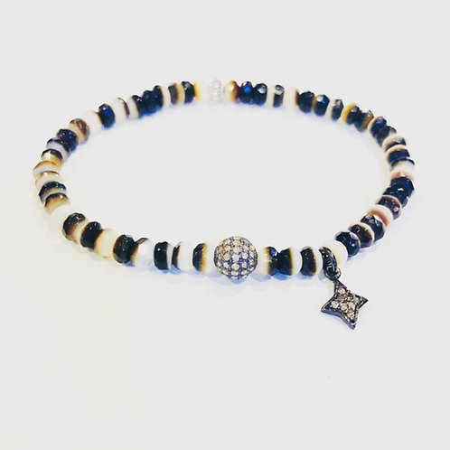 Mother of pearl and diamond bracelet