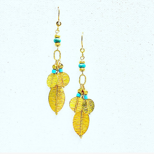 18k and Turquoise Earrings
