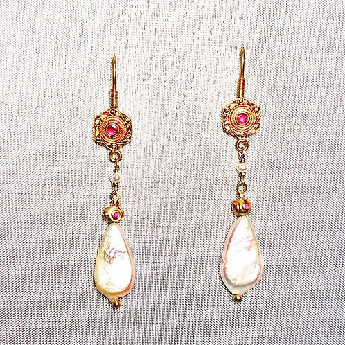18k Pearl and Ruby  Earrings