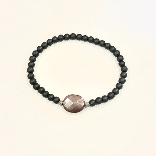 Chocolate moonstone and hematine bracelet