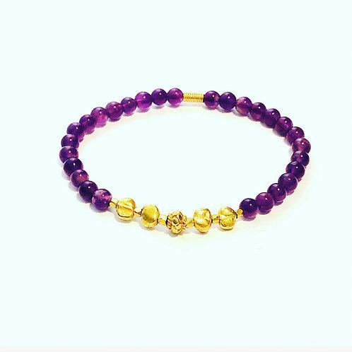 18k amethyst stretch bracelet