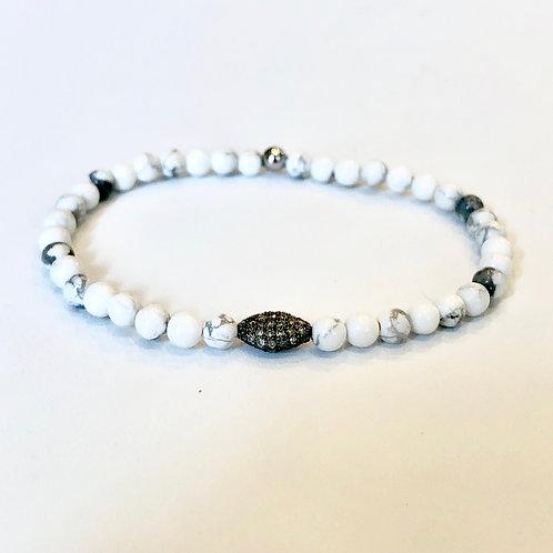 Diamonds, Oxidized Silver and Howlite Bracelet