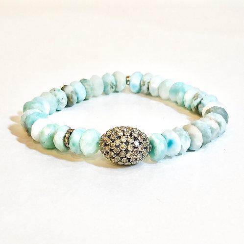 Diamond larimar bracelet