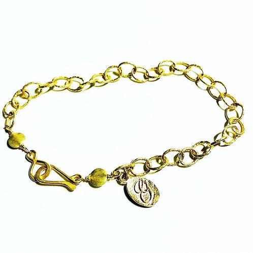 18k Hammered Link Bracelet