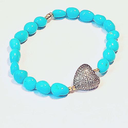 Diamond  Sleeping Beauty Turquoise Bracelet