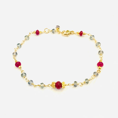 Rubies, 18k gold, and Green Sapphires