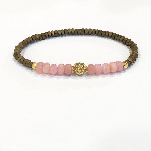 18K, pink opal, hematite