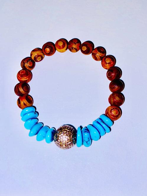Diamonds, Oxidized silver, Turquoise, and Tibetan Agate