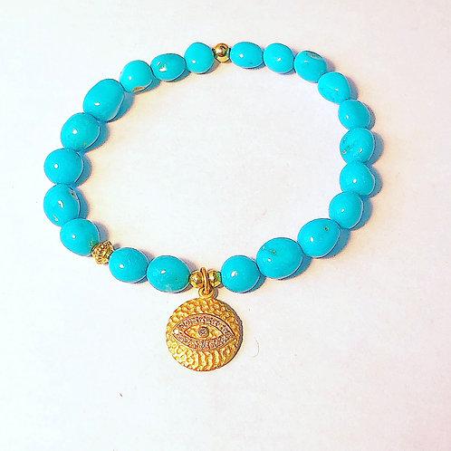 18k Evil Eye and Turquoise Bracelet