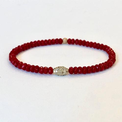 14K, diamonds, red coral