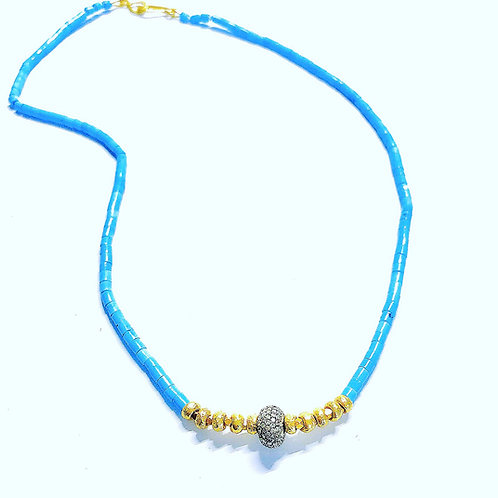 Diamond, 18k and Turquoise Choker