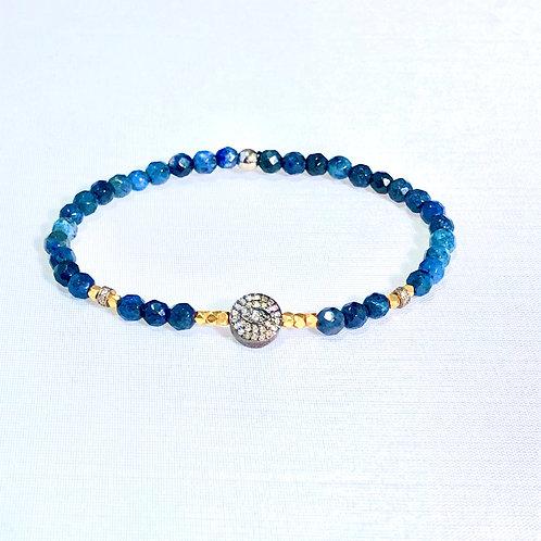 Evil eye diamond and sodalite bracelet