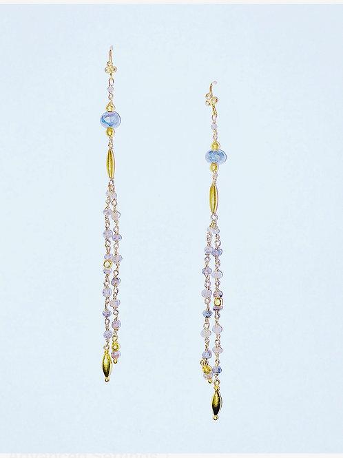 18K Gold, Labradorite, and Diamond Earrings
