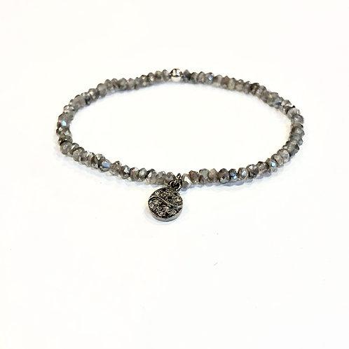 Yin-yang diamond labradorite bracelet