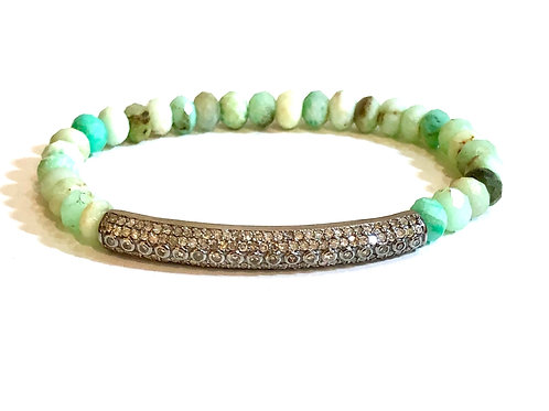 Diamond and chrysoprase bracelet