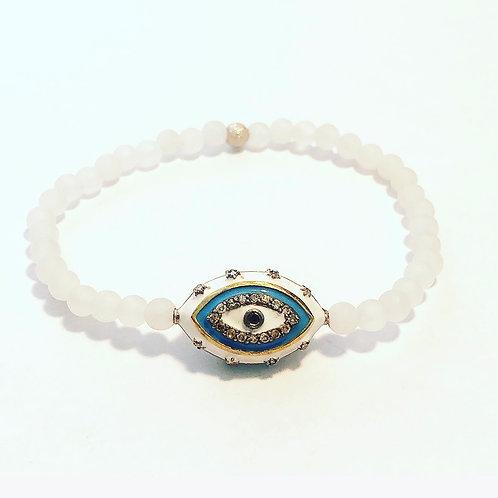 Diamond, sapphire, white jade Evil Eye bracelet