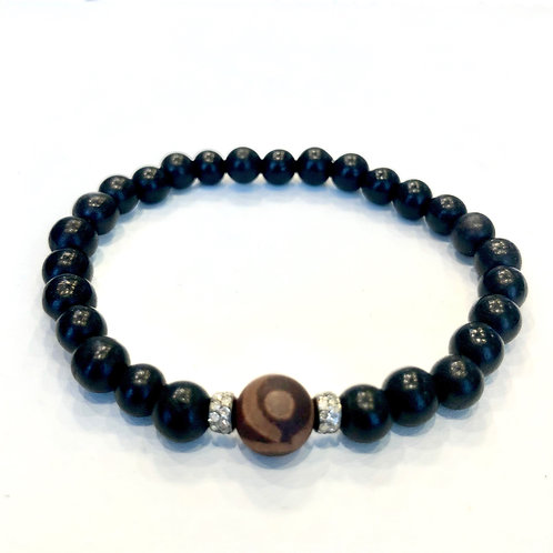Tibetan Agate, Diamonds and Sandalwood Bracelet