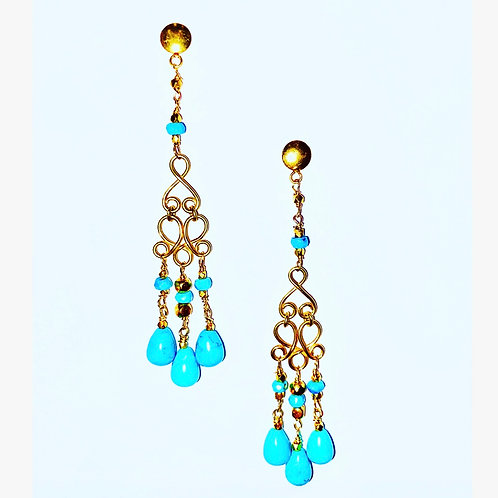 18K Gold Turquoise Earrings
