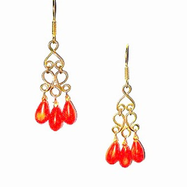 18K Gold and  Mediterranean Coral Earrings