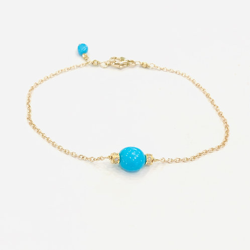 Sleeping Beauty Turquoise, 14K gold, and Diamond Bracelet