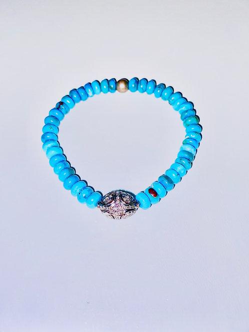 Diamonds, Oxidized Silver and  Turquoise Bracelet