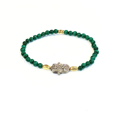 Diamond hamsa malachite bracelet
