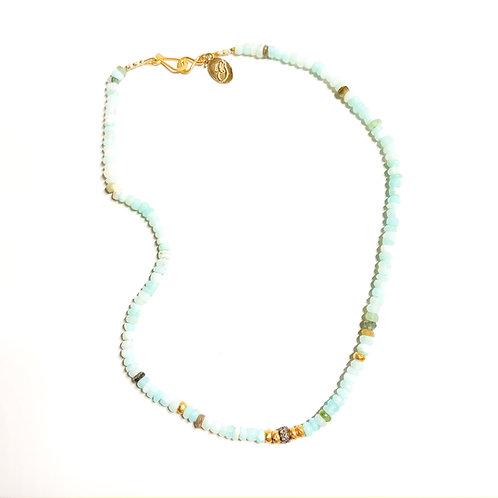 18k and Diamond Peruvian Opal Necklace