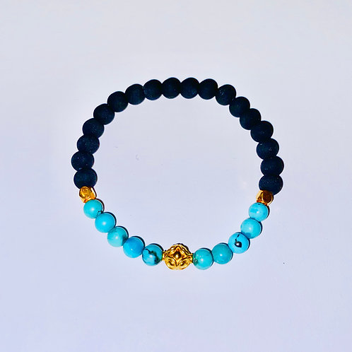 18K Gold, Turquoise, and Sicilian lava