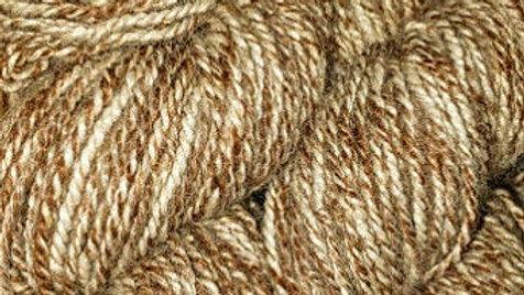 Our Alpaca yarn, tweed, Br. & Wh., worsted, 2ply