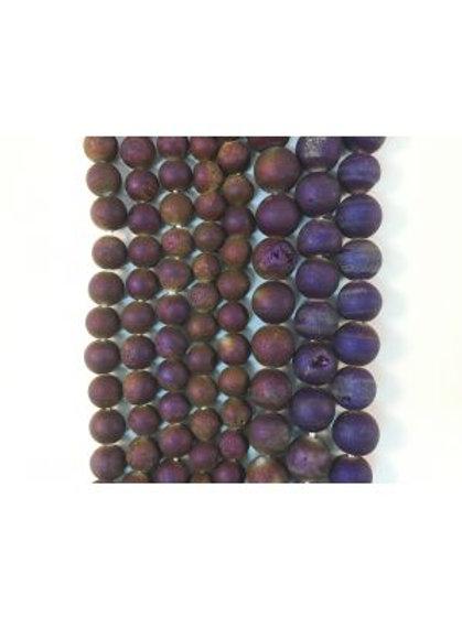 Purple-Gold Druzy Beads 6mm