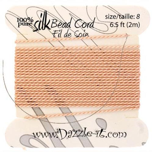 Silk Bead Cord w/Needle (0.80mm) Lt.Pink