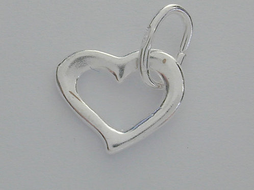 925 Heart With Open Jump Ring