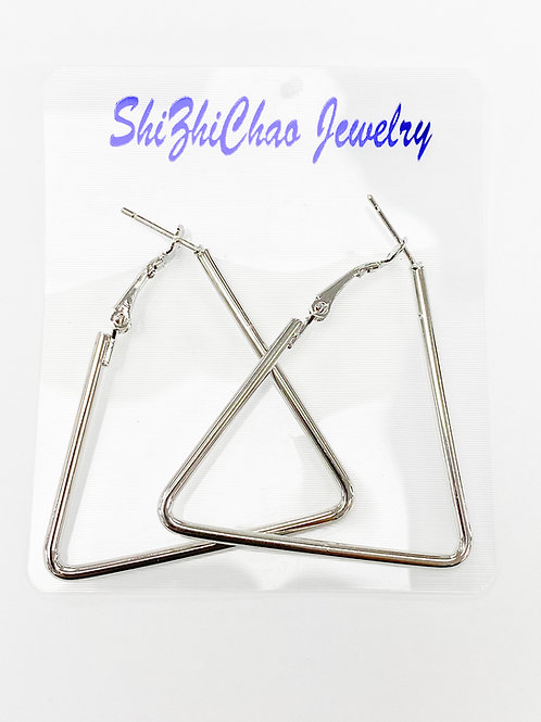 54mm x 50mm Silver Triangle Shape Earring For Beading Around, 2mm Thickness