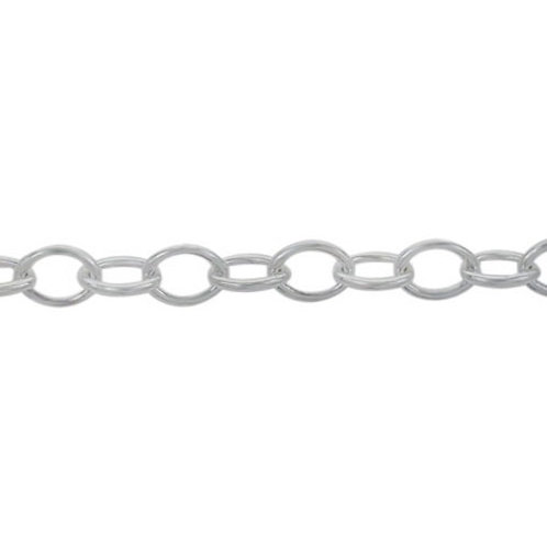 Cable Link Unfinished Chain, 5x4mm, Sold By The Foot.