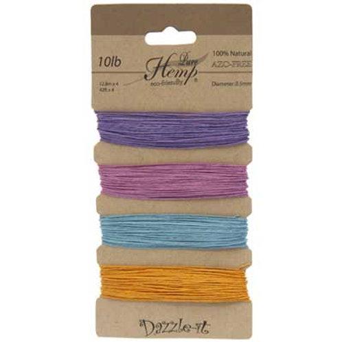 Hemp 100% 0.5mm 10lb Pastel Colours